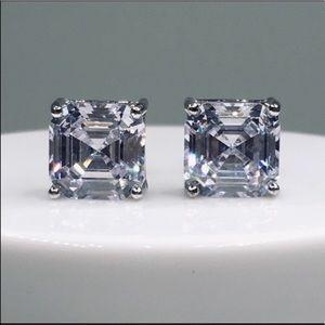 Jewelry - 14k white gold asscher diamond 2.5ct stud earrings